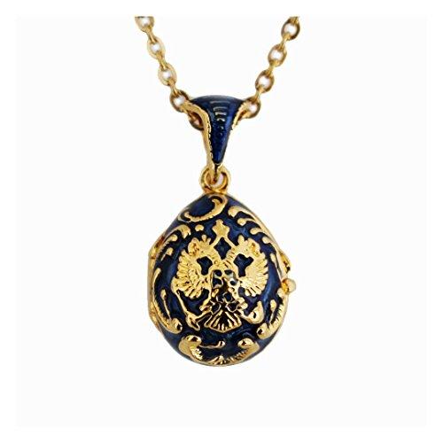 Pendentif Oeuf Style Fabergé Armoiries de la Russie Bleu ouvrant sur Coeur, Cristaux et chaîne OE31