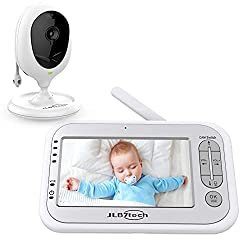 """JLB7tech Video Baby Monitor with One Camera and 4.3"""" LCD,Auto Night Vision,Two-Way Talkback,Temperature Detection,Power Saving/Vox,Zoom in,Support Multi-Camera"""