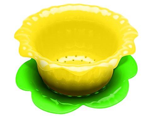 Zak Designs 2147-A851 Passoire Jonquille 15 cm avec Soucoupe - Vert/Jaune, Plastique