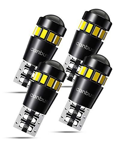 W5W T10 LED Lampadine con Canbus, Luci di Posizione, Luci Targa per Auto, Luce di Parcheggio, Lampadine Tettuccio 555 501 558 2825 175 192 168 194, 6000K, 4 Pezzi