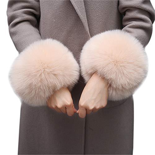 Asudaro Frauen Mädchen Herbst Winter Fell Pelz Armstulpen Stulpen Manschetten Fellstulpen Handschuhe Armband Pulswärmer Kunstfell Handschuhe Ärmel Manschette Bekleidungszubehör
