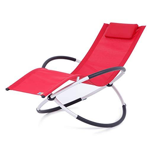 LIXIONG Mecedora Todos los climas Sillón Plegable Tumbonas w/extraíble Almohada Sling Chair...