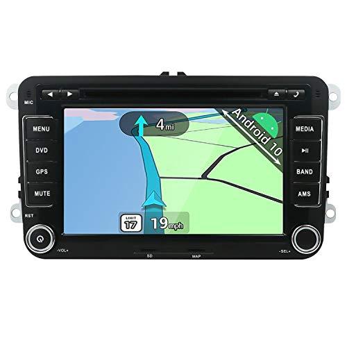 YUNTX Android 10 Autoradio Compatible avec Passat/Golf/Skoda/Seat - GPS 2 Din - Caméra de recul Gratuite & Canbus &MIC - 7 Pouces - Soutien Dab +/Commande au Volant/WiFi/Bluetooth/Carplay