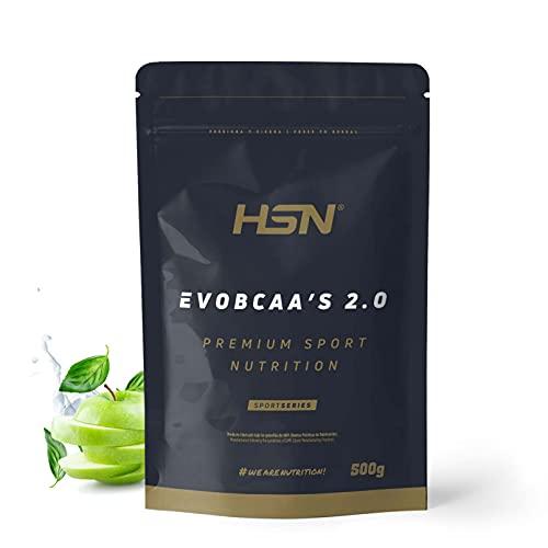 BCAA con Glutamina de HSN Evobcaa's 2.0 | Aminoácidos Ramificados Ratio 12:1:1 (Leucina + Valina + Isoleucina) | Recuperador Muscular + Ganar Músculo | No-GMO, Vegano, Sin Gluten | Manzana | 500 gr