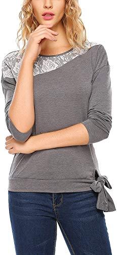Sccarlettly Damen Sweatshirt Herbst Elegante Blumenprint Mit Chic Casual Taschen Mode Langarmshirt Patchwork Rundhals Schlank Einfach Jumper Tops (Color : Grau, One Size : S)