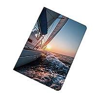 "iPad 9.7"" 第5 /6世代 2017 /2018 ケース 航海 サンセットマリンアドベンチャーに向けた海の波の帆船趣味風景 超薄型レザー 軽量 オートスリープ スマートケース背面カバー iPad 9.7インチ用 自動スリープ/ウェイクアップ機能付き ライトブルーイエロー"