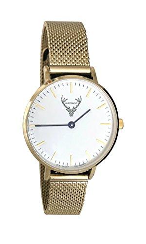 kleine Trachtenuhr, Uhr in Gold, 32mm mit Edelstahlarmband passend zum Dirndl und im Alltag Dank Quick Release-Band