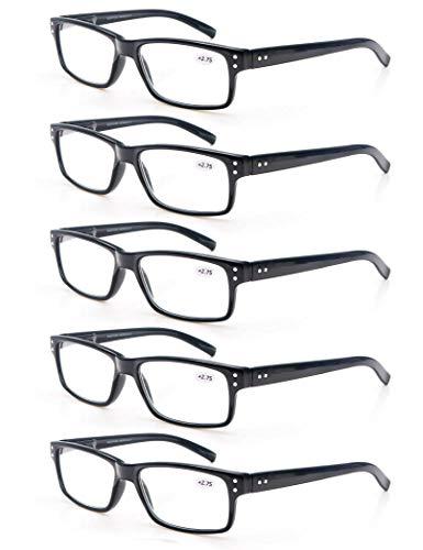 MODFANS Un Paquete de 5 Gafas de Lectura para Hombres/Mujeres,Lente Clara,Vision Clara,Vista de Cerca Moda Practicas,Vista Cansada Ligeras Comodas