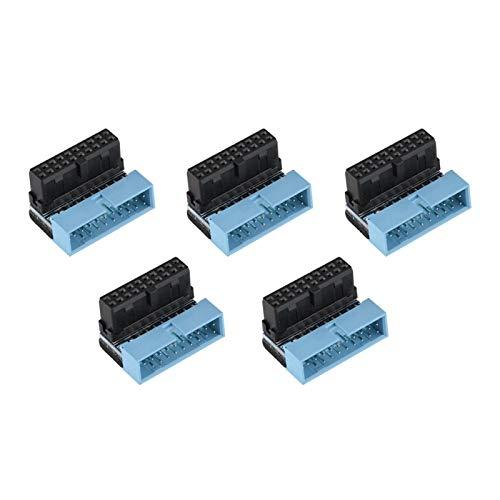 5PCS USB 3.0 Conector de Placa Base de 19 Pines, Cabecera de Placa Base, Cabecera Interna de Placa Base en ángulo de 90 Grados, Macho a Hembra Giro en L en ángulo Recto