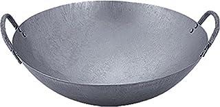 Jade Temple 17287Wok, Sartén de hierro, Diámetro 45cm, Doble Mango, Base redonda, Gris, 48x 48x 38.5cm