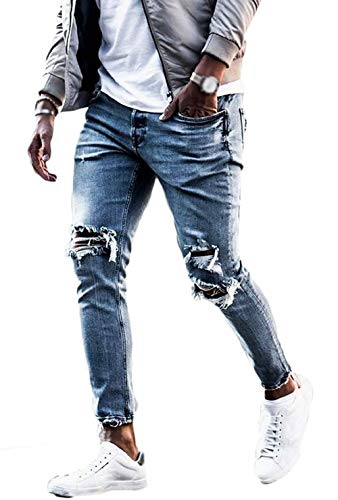 Vawal Herren Slim Fit Strecken Skinny Zerrissen Denim Jeans Destroyed Tapered Bein Hosen (L, Bleu Clair)
