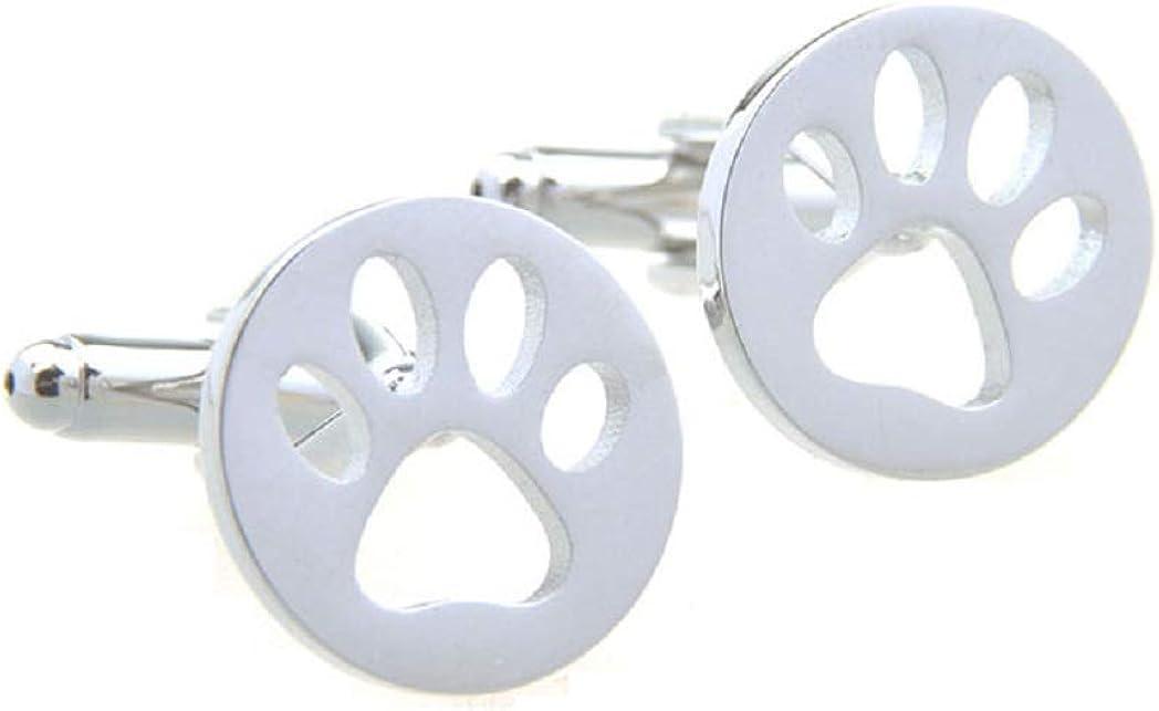 MRCUFF Cub Paw Print Bear Tiger Dog Cut Out Big Cat Pair Cufflinks in a Presentation Gift Box & Polishing Cloth