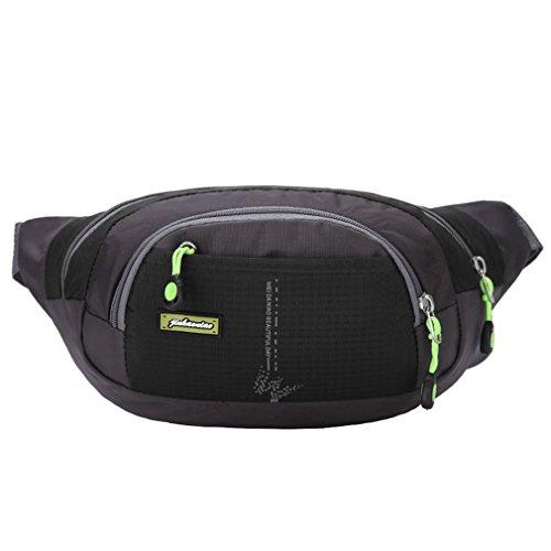 emansmoer Unisex Sac de taille Sac banane Daypack Besace Multifonction Outdoor Sport Randonnée Trekking Course à pied Sac (Noir)