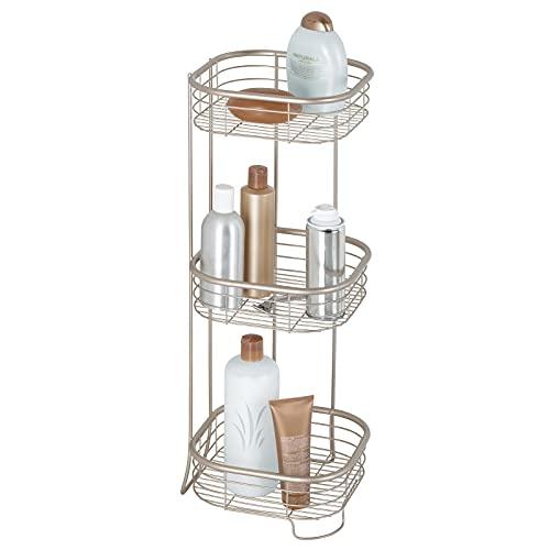 mDesign Eckregal Bad und Dusche freistehend – ideale Aufbewahrung von Shampoo, Duschgel, Handtücher auf drei Ablagen - rostbeständig - Farbe: Satiniert
