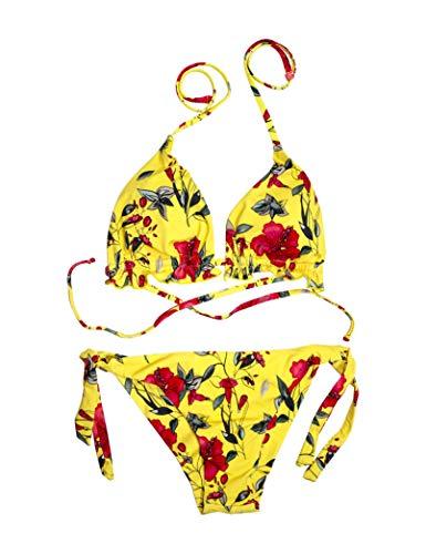 Mermaid Damen-Bikini, Blumenmuster, Badeanzug, sexy, mit Triangel-BH und Brasilianischem Schal, Gelb 38