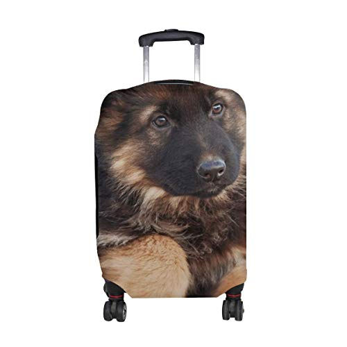 German Shepherd Dog Puppy Cute Pattern Print Travel Luggage Protector Baggage Suitcase Cover Fits 18-21 Inch Luggage