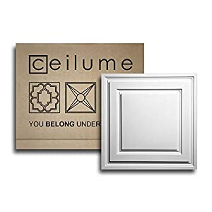 """Ceilume 12 pc Stratford Ultra-Thin Feather-Light 2x2 Lay in Ceiling Tiles - for Use in 1"""" T-Bar Ceiling Grid - Drop Ceiling Tiles (White)"""