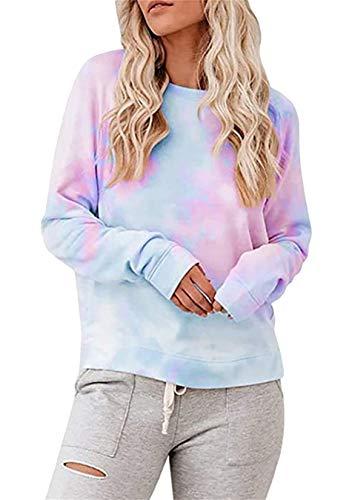 EFOFEI Sudadera para mujer Tie-Dye sin tirantes, de arcoíris, camiseta de manga larga con tinta casual. Azul H + lila. M