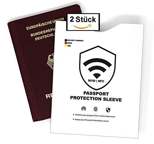 RFID & NFC Reisepass Schutzhüllen (2 Stück, RFID, NFC, weiß, reißfestes Material, Störsender) gegen unerlaubtes Auslesen Deiner Daten