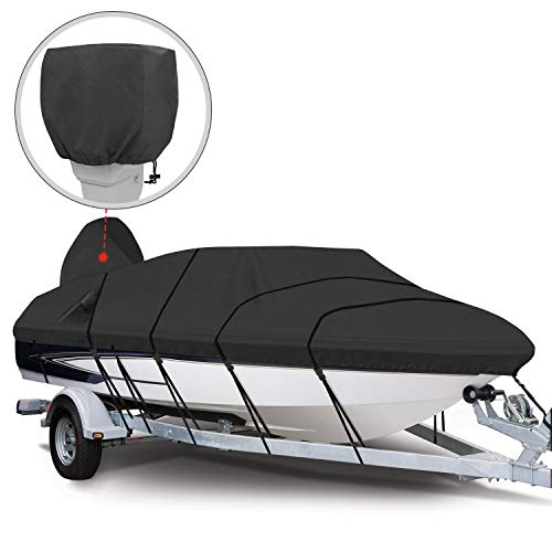 RVMasking Heavy Duty 600D Polyester Trailerable Boat Cover Black for V-Hull Runabouts Outboards and I/O Bass Boats