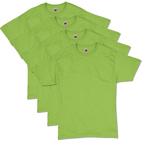 Hanes Men's ComfortSoft Short Sleeve T-Shirt (4 Pack ),Lime,Large