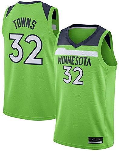 llp NBA Herren Basketball Jersey Minnesota Timberwolves 32# Karl-Anthony Towns Retro Mesh Stickerei Jersey Westen Tops T Shirts (Color : A, Size : XX-Large)