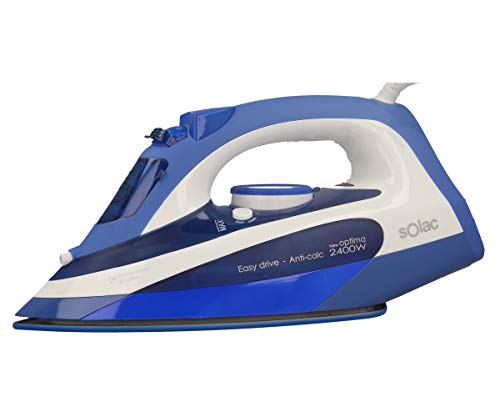 Solac PV2105 - Plancha (Plancha vapor-seco, Suela de acero inoxidable, 2 m, 120 g/min, Azul, Blanco, 30 g/min)