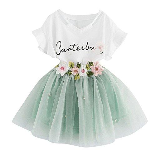 1Set Kleinkind Kinder Kleider Suit Baby Mädchen Tüll Kleid Outfits Kleidung Druck T-Shirt Tops + Floral Rock Partykleid Trikot Tanzkleider Ballettkeider ABsoar