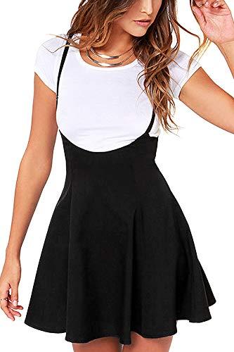 YOINS Women's Suspender Skirts Basic High Waist Versatile Flared Skater Skirt A-Black XL