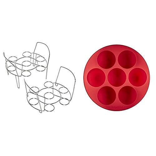 Instant Pot 5252281 Official Wire Egg Racks, Set of 2, Compatible with 6-quart & 8-quart cookers and Official Silicone Egg Bites Pan with Lid