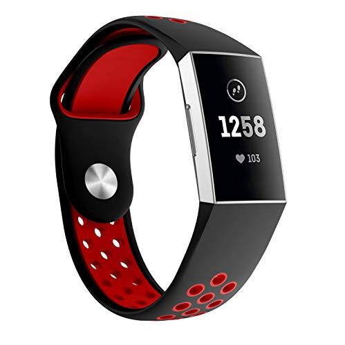 "Supore Unisex-Adult Ersatzarmband kompatibel Charge 3 SE Armband, Uhrenarmband Weiches Silikon Sports Ersetzerband Fitness Verstellbaresfür Fitbit Charge3, schwarz + rot, Klein (5.11\""-7.67\"")"