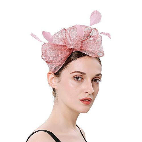 Soxtome - Tocado de Plumas para Mujer, diseño de Sinamay Rosa Rosa Ta