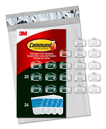 Command Outdoor Light Clips, Clear, 20 clips, 24 strips (AW017-20NA)