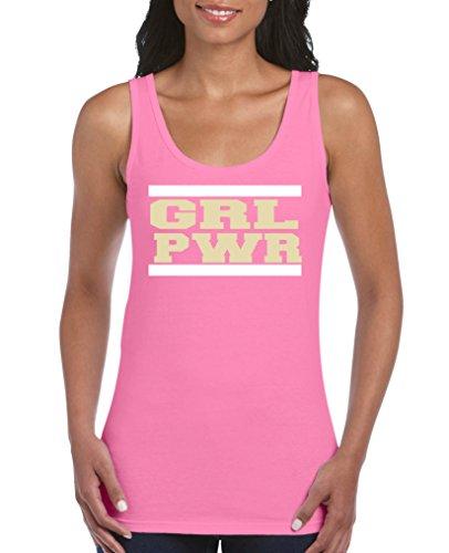 Comedy Shirts - Girl Power - Damen Tank Top - Pink/Beige-Weiss Gr. L