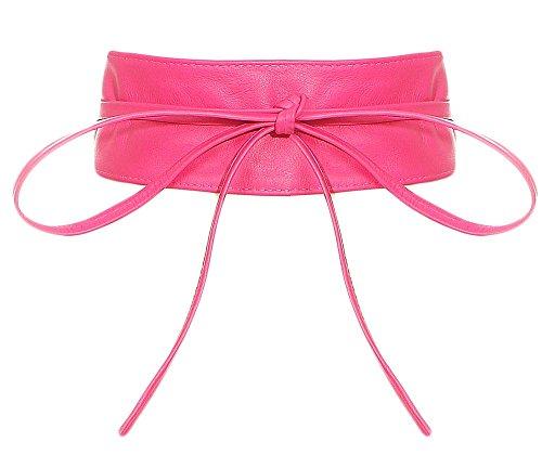 malito Damen Taillengürtel   Echtleder Bindegürtel   breiter Wickelgürtel - Ledergürtel - Hüftgürtel G100 (pink)