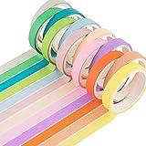 Yubbaex 12 Rollos Washi Tapes Set de Cinta Adhesiva Washi Cinta Adhesiva Decorativa para Scrapbooking DIY Manualidades (caramelo 8mm de ancho)