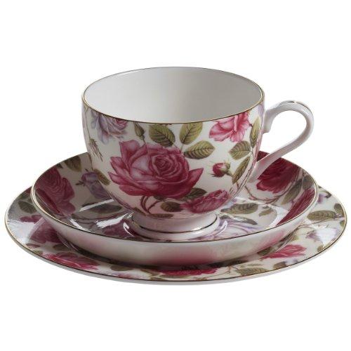 Maxwell & Williams S312462 Royal Old England Gedeck, Teller und Tasse mit Untertasse, Motiv: Teerose, in Geschenkbox, Porzellan