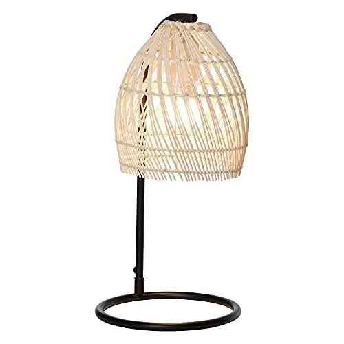 HOMCOM Lampe de Table arquée - Lampe à Poser Style néo-rétro - Ø 20 x 41H cm - Abat-Jour rotin Naturel
