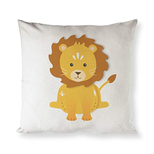 Toll2452 Lion Cotton Canvas Baby Pillow Cover Pillowcase Cushion Cover and Decorative Home Throw Pillow Cover Kids Decorative Cute Decor Gift