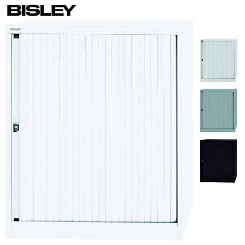 BISLEY Rolladenschrank mit Schloss | Schrank aus Metall | Rolladen aus Kunststoff abschließbar inkl. 2 Einlegeböden | in weiß