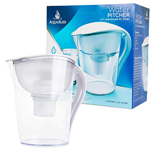 AquaBliss 10-Cup Water Filter Pitcher w/Longest Lasting Advanced XL Water Purification Filter
