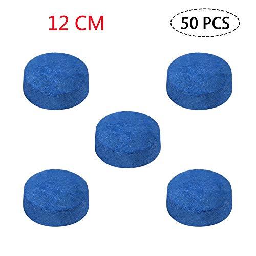 NO LOGO LSB-TAIQIU, 50pcs Pool Cue Tipps Billard Queue Kopf 9MM / 10MM / 12MM / 13MM Professionelle Leder Billard Zubehör Blau/Grau (Größe : Blue 12mm)