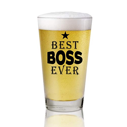 AGMdesign, Best Boss Ever 16 oz Beer Pint Glass, Bosses Day Gifts Ideas, Funny Beer Gifts For My Greatest Boss from Coworker