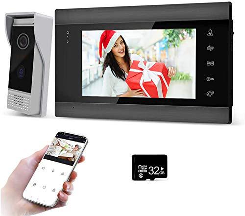 JeaTone Interfono de puerta LCD de 7 pulgadas con cámara, 960P HD, captura de movimiento avanzada y fácil instalación, visión nocturna por infrarrojos y aplicación.