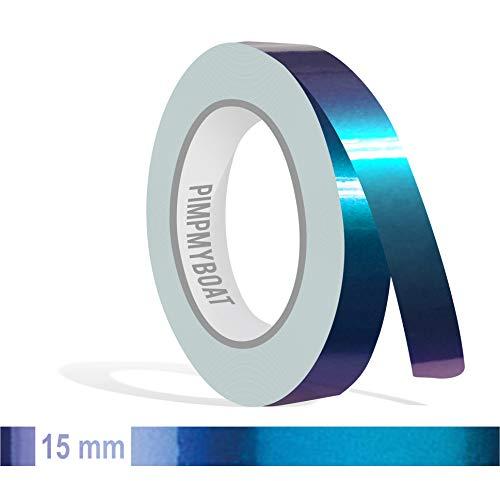 Siviwonder Zierstreifen Shift Effect Marine blau violett Glanz in 15 mm Breite und 10 m Länge Aufkleber Folie für Auto Boot Jetski Modellbau Klebeband Dekorstreifen - Flip Flop Autofolie Farbwechsel