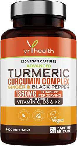 Turmeric Capsules High Strength 1860mg with Black Pepper, Ginger, Vitamin C & D for Immune System and Joints Plus K2 Mk7 - 120 Vegan Capsules Premium Turmeric Curcumin – Made in The UK by YrHealth