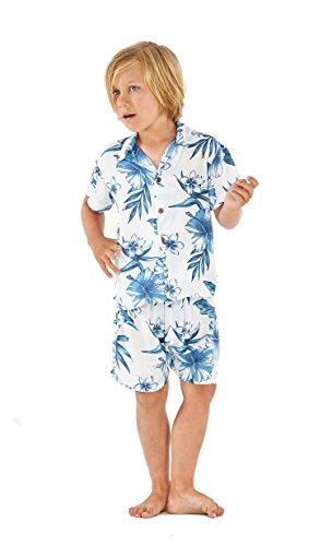 Resaca de Hawai Chico Camisa Aloha Luau Cabana Set en Día Sueño Florecer 4 años de Edad