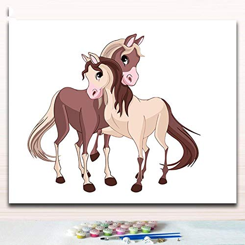 thfff Karikaturliebhaber-Pferdebilder, Die Farbtonfarben Durch Zahlen Mit Farbkunstfotos Für Moderne Einfache Hoom Wanddekoration Malen