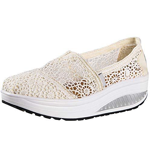 Zapatillas Balancin Mujer Tejer Cordón Ponerse Cuña Comodas Casual Zapatos para Caminar(Beige,36 EU)