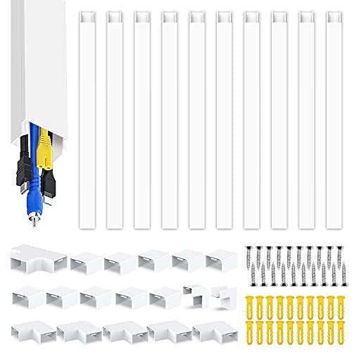 Canaleta para cables 10 piezas blanco autoadhesivo | Cubierta de cable de PVC de 400 cm, canal de cables para ocultar cables | Canal de televisión por cable